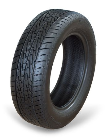 radial tire: Isolated image of an all weather radial tire Stock Photo