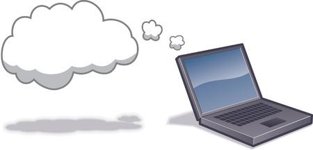ラップトップ コンピューターにクラウドでは、クラウド ・ コンピューティングを示されます。 オブジェクトの層で区切られました。CMYK カラー。