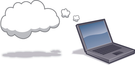 Laptop computer with cloud to indicated Cloud Computing.  Layer-separated objects. CMYK color. Иллюстрация