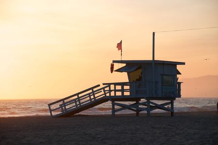 Life Guard Tower on Santa Monica Beach, Califoria. Stock Photo - 9179981