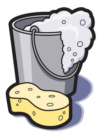 sponge: A bucket of soapy water and a sponge for cleaning.