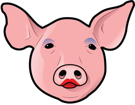 eye shadow: Pigs head with lipstick and eye shadow