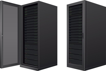 data center: Isolated IT enclosures; door open and door closed Illustration