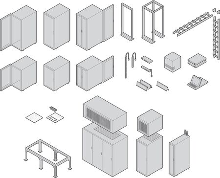isométrica: Various datacenter equipment. Drawn at isometric angle. All have closed paths with color fills linked to a global swatch for easy color changes. Strokes left as paths for easy editing.