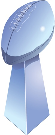 Chromed football trophy, isolated with white background. Illustration
