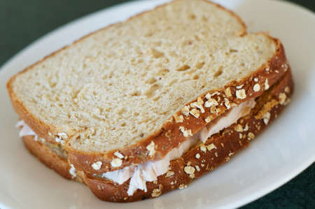 Turkey sandwich with whole grain bread, on a white plate. Shallow depth-of-field.