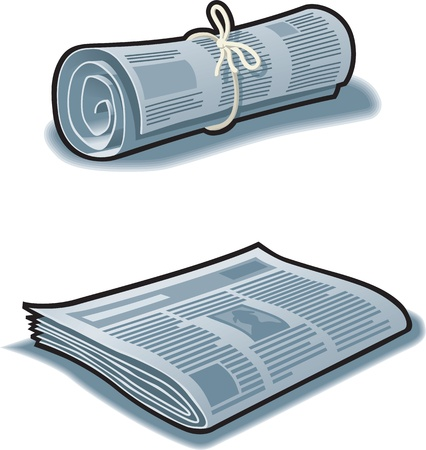 Newspapers rolled up with string and flat.  Illustration