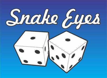 Dice showing a total of two, snake eyes. Ilustração