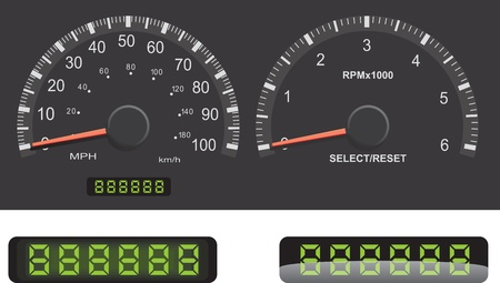 Speedometer and Tachometer guage set with mileage LED details. Vector