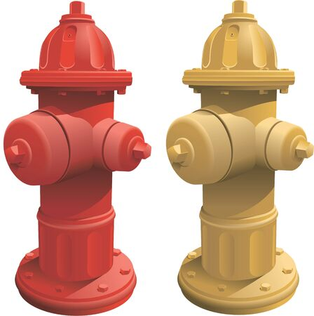 Isolated fire hydrants in red and yellow. Created in CMYK color. EPS version 10.