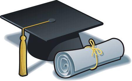 卒業帽と卒業証書、ブラックとゴールド。EPS バージョン 10 の RGB カラー。
