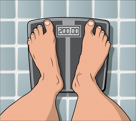 bathroom scale: One the scale weighing in at 200 pounds. eps version 10 layer separated artwork.