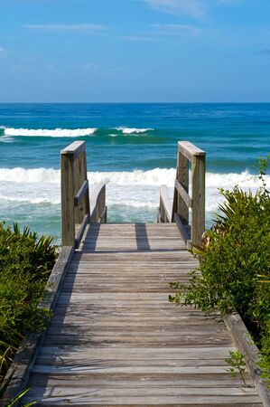 Ocean access boardwalk to Florida Beach, vertical format. Stock Photo
