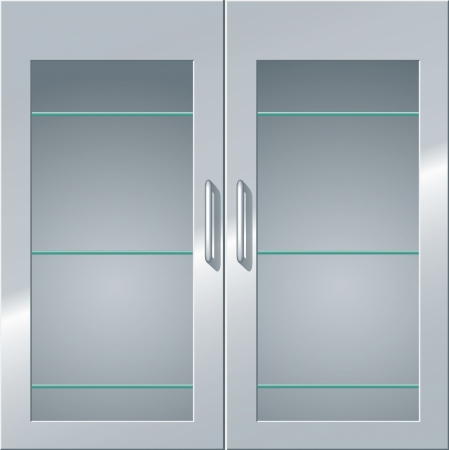 door handles: Front view of a metal cabinet with glass doors and shelves.