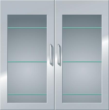 Frontansicht eines Metall Schrank mit Glastüren und Regale.