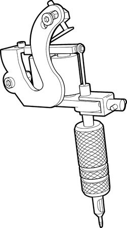 Technical drawing of a tattoo machine. All lines converted to shapes and welded or united into one continuous shape.