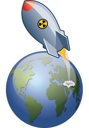 Rocket lanceert vanaf de aarde. Inclusief Gaussiaanse vervaging en transparantie-effecten.