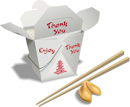 Ann open container of chinese food with chop sticks and a fortune cookie.