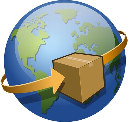 circling: A package circling the globe.