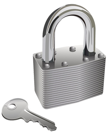 key pad: Isolated and realistic chrome pad lock and key