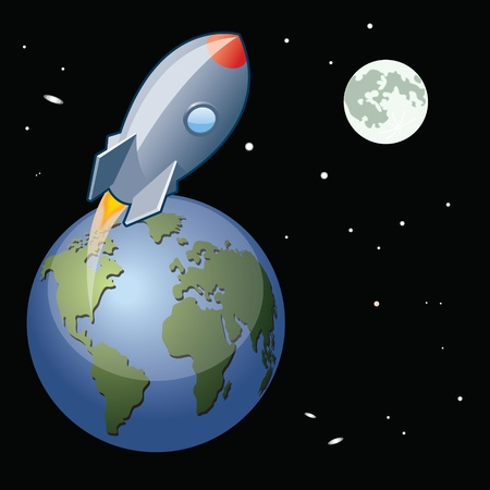 earth from space: A  space rocket launches from Earth traveling to the Moon  Illustration