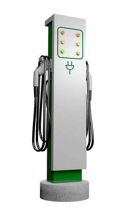 electric charge: 3D created artwork of an electric automobile charging station