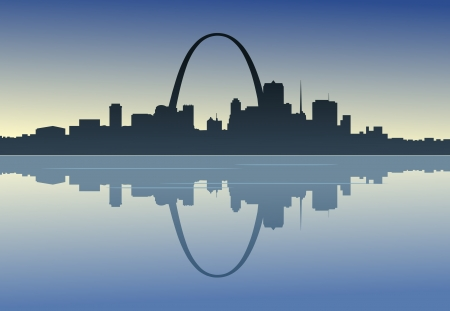 A silhouetted view of downtown St. Louis, Missouri. Иллюстрация