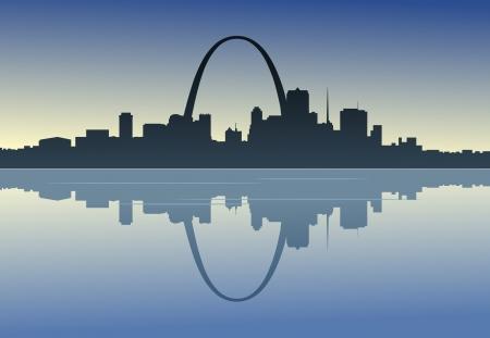 Une vue silhouette du centre-ville de St. Louis, Missouri. Banque d'images - 24196190