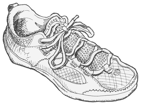Pen and ink, black and white, drawing of a shoe.  Ilustração
