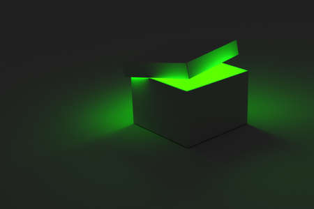 A 3D rendering of a single box with the lid partially open revealing a glowing light coming from inside. Banque d'images