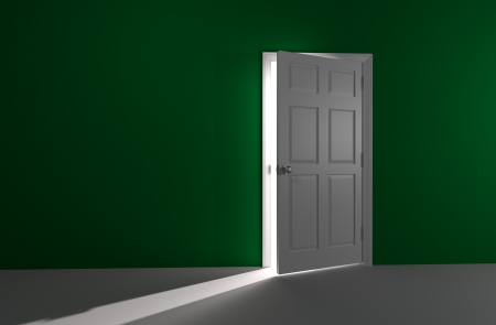3D rendered image of a white door in a green wall is slightly open  A bright and glowing white light shines in