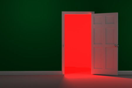 A bright and glowing red light shines from the hall way.