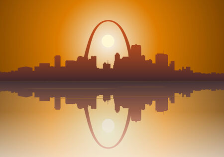 Illustration of a foggy  St. Louis, Missouri sunset over the Mississippi river.   Иллюстрация