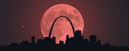 A Blood Red Super Moon behind a silhouette of downtown St. Louis, Missouri.