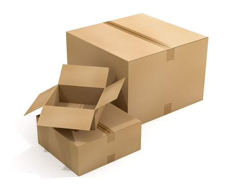 3D rendering of three cardboard shipping boxes on white background. Working Path included. Banque d'images