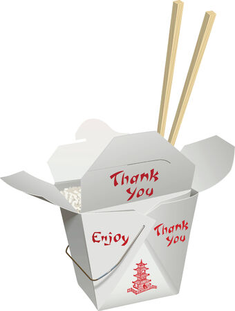 chinese food container: Chinese food in a take-home container with chop stick placed down in the food. Illustration