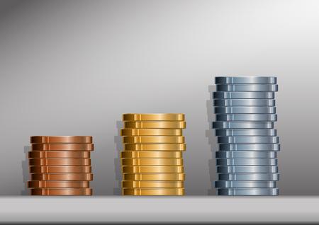 Drie stapels munten met achtergrond. EPS versie 10 met transparanten. Stock Illustratie