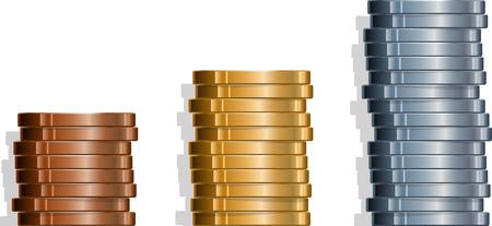 Drie stapels muntstukken. Stock Illustratie