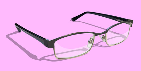 eyewear fashion: Reading Glasses on colored background. Illustration