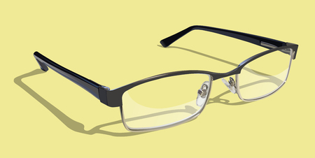 near sighted: Reading Glasses on colored background. Illustration