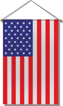 United States Flag hanging by rope.