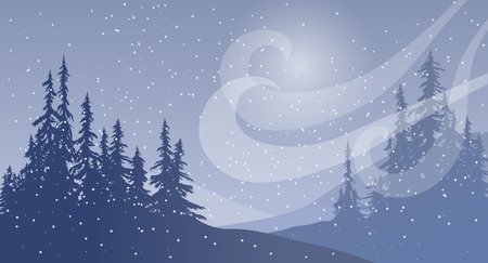 evergreen trees: Winter scene with wind and snow. Illustration