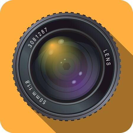 Icon of a 50 mm camera lens with orange background. Illustration