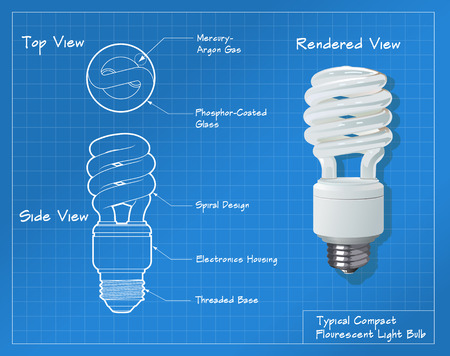 Technical drawing of a small compact fluorescent light bulb. All paths have been converted to shapes. Layer-separated. Illustration