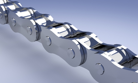 alloy: Chrome bike or motorcycle chain rendering. Stock Photo