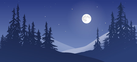 Night winter scene with the moon low in the sky.