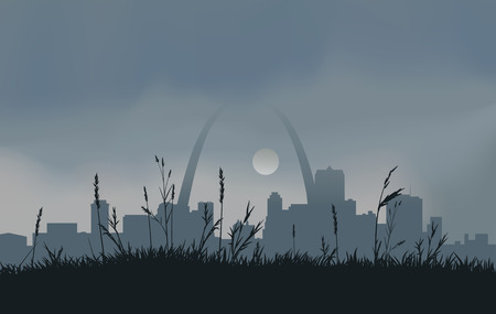 Dowtown St. Louis with a gray overcast sky and the sun peaking through the clouds. RGB Color. EPS 10 gradient mesh and trasparencies used.