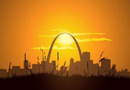 Dowtown St. Louis visible from East St. Louis, during sunset.