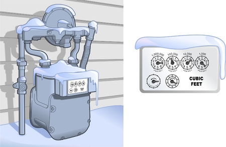 gas meter: Natural Gas Meter in the Snow