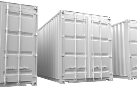 Rendus 3D des blancs conteneurs d'expédition ISO sur un fond blanc. Banque d'images - 54105178